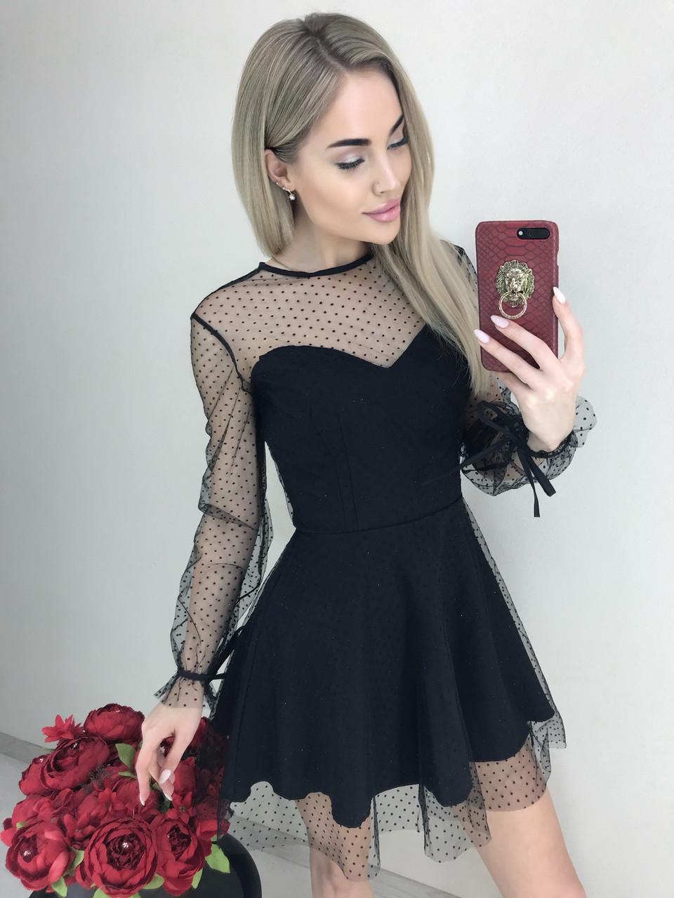 Платье женское полупрозрачное с длинными рукавами /черное, 42-46, ft-461/
