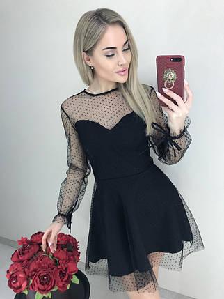Платье женское полупрозрачное с длинными рукавами /черное, 42-46, ft-461/, фото 2