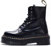 Зимние женские ботинки Dr. Martens Jadon Black с черным мехом, Др.Мартенс