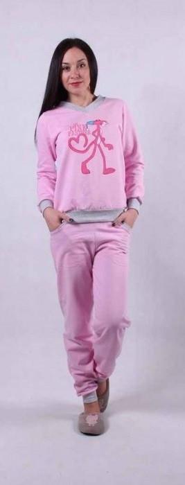 Женская теплая розовая пижама Пантера 42-56 р