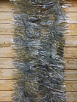 Топ! 10 см диаметр Рождественский дождик-мишура Серебро, Длина 3 метра