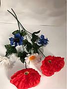 Искусственная ветка мак, ромашка,василёк (украинская ветка)