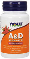 Витамины Now Foods - A&D 10000/400 IU (100 капсул)