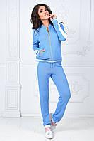 Женский зимний вязанный теплый спортивный костюм  шерсть голубой бордо 42--46, фото 1
