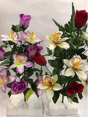Искусственный букет Орхидея.Декоративная орхидея с розой., фото 2