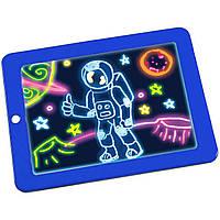 ☀Магическая 3D доска для рисования Lesko Magic Drawing Pad HL-108 Blue светящаяся для развития детская игра