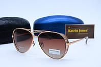 Солнцезащитные очки Kat 0827 коричневые с бежевым