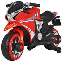 Мотоцикл M 3682L-3 1 мотор 45W, 2 акум. 6V4,5A, ручка газу, шкіряне сидіння, MP3, TF, USB, червоний., фото 1