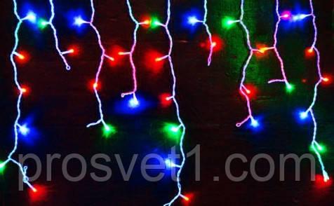 Гирлянда 120 LED 3м «Бахрома» с белым проводом (мультиколор)