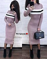 Вязаное платье миди облегающего фасона с длинным рукавом 903382, фото 1