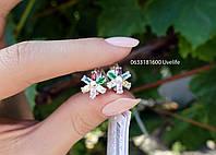 Серебряные серьги Цветные цветочки, фото 1