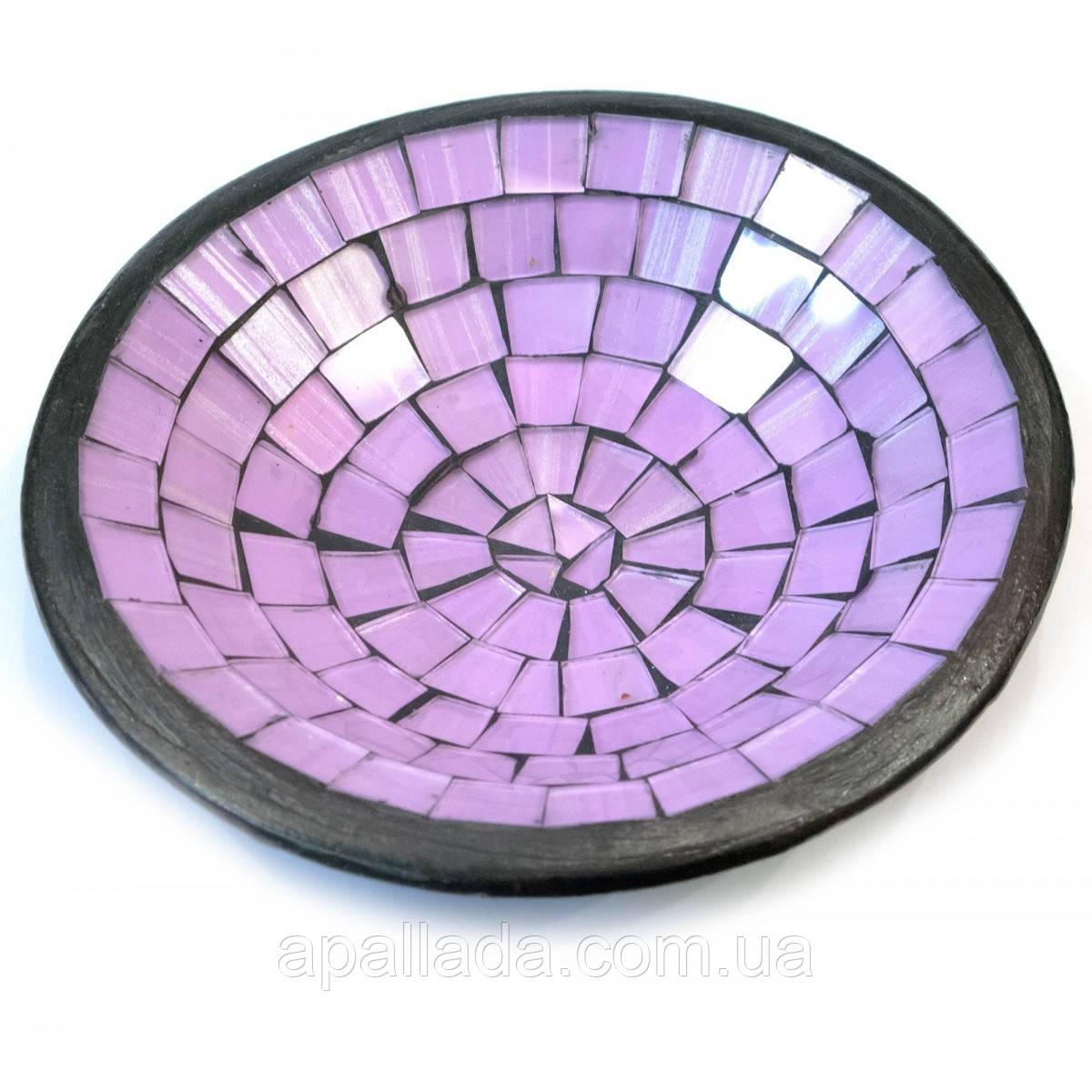 Блюдо терракотовое с фиолетовой мозаикой, диаметр-15 см