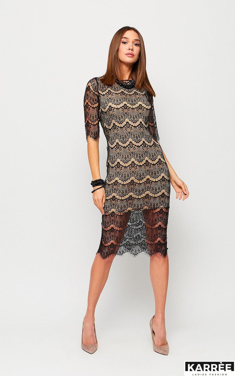 Гипюровое приталенное платье на новый год длина миди черный