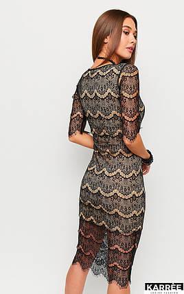 Гипюровое приталенное платье на новый год длина миди черный, фото 2