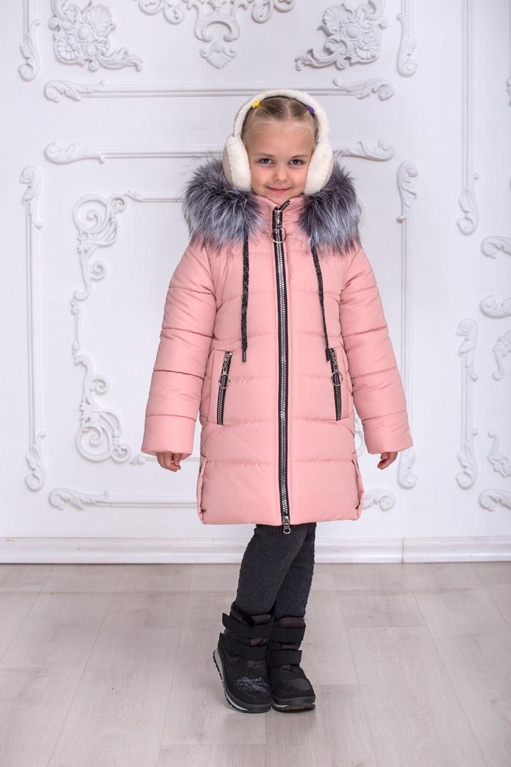 Зимове пальто для дівчинки Ніколь, розміри на ріст 128 - 146