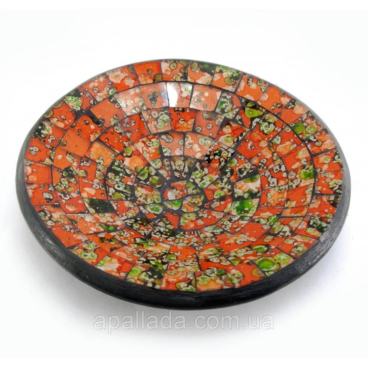 Блюдо терракотовое с оранжевой мозаикой, диаметр-15 см