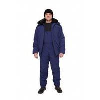 Куртка утепленная с меховым воротником Еврозима, зимняя куртка укороченная, цвет синий