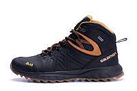 Мужские зимние кожаные ботинки Salomon S-series Black (реплика)