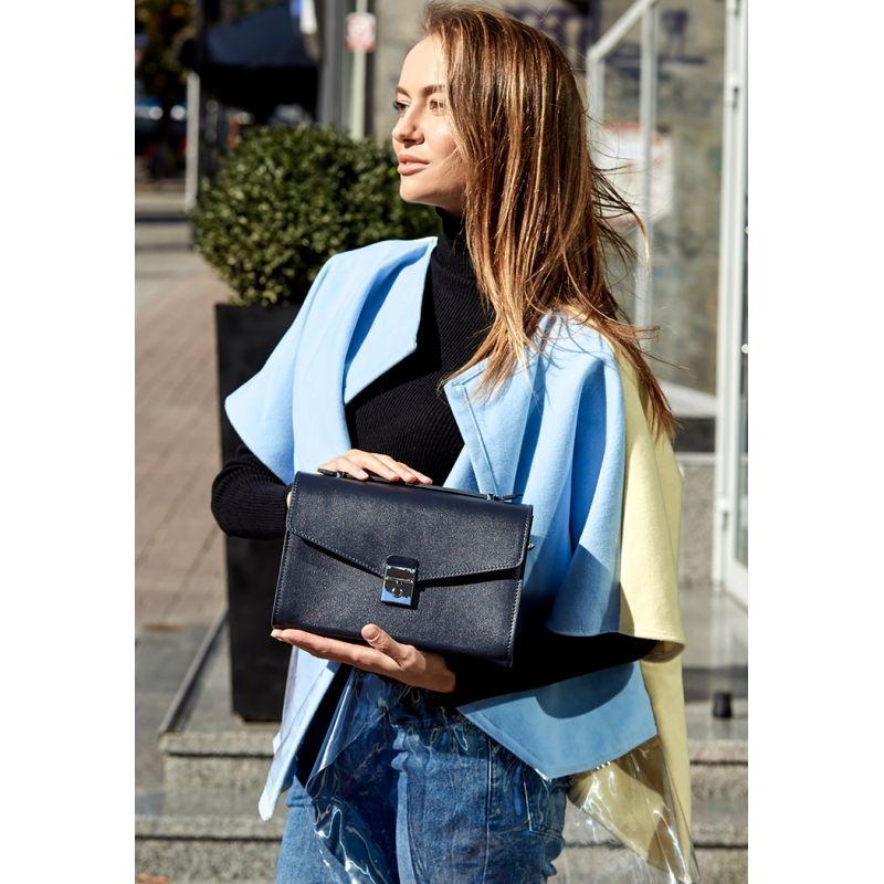 Женская кожаная сумка-кроссбоди Lola темно-синяя