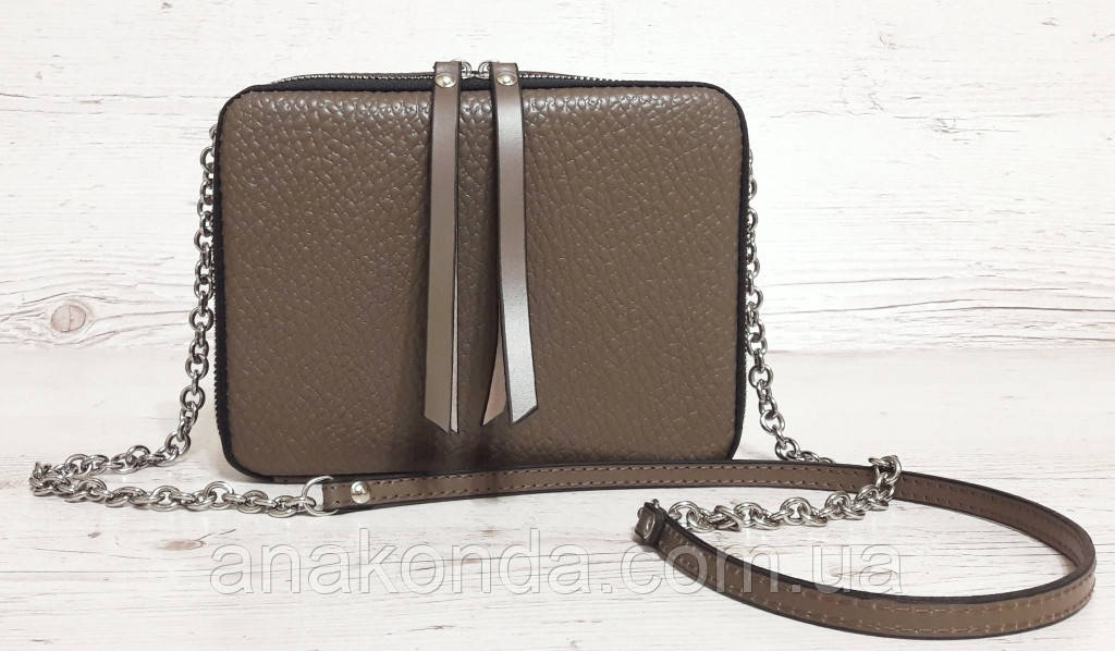66 Натуральная кожа Сумка женская кросс-боди кожаная сумочка на цепочке тауп песочная кофейная бежевая сумка