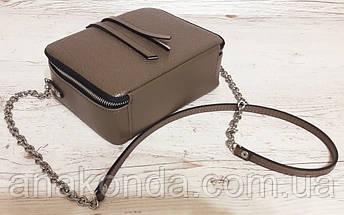 66 Натуральная кожа Сумка женская кросс-боди кожаная сумочка на цепочке тауп песочная кофейная бежевая сумка, фото 2