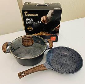 Набор посуды 3 предмета GLOBALIS с мраморным покрытием (кастрюля 4.5 л, сковорода 24 см+крышки стеклянные)