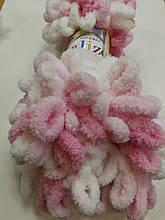 Пряжа Пуффи Колор Ализе Alize, цвет 5863 зефирный бело\розов