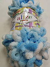 Пряжа Пуффи Колор Ализе Alize, цвет 5924 бело\голубой