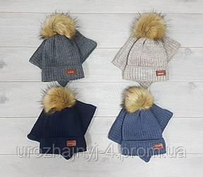 Вязаный набор шапка и хомут на флисе р50-52 4шт упаковка