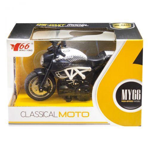 Мотоцикл металлопластиковый, инерционный (белый) M66M-1216