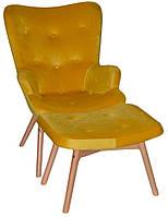 Кресло Флорино с табуреткой, бархат, цвет желтый (Бесплатная доставка)
