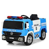 Детская машина M 4076EBLR-4 Полиция, пульт, 2 мотора, колеса EVA, сиденье эко-кожа, синяя