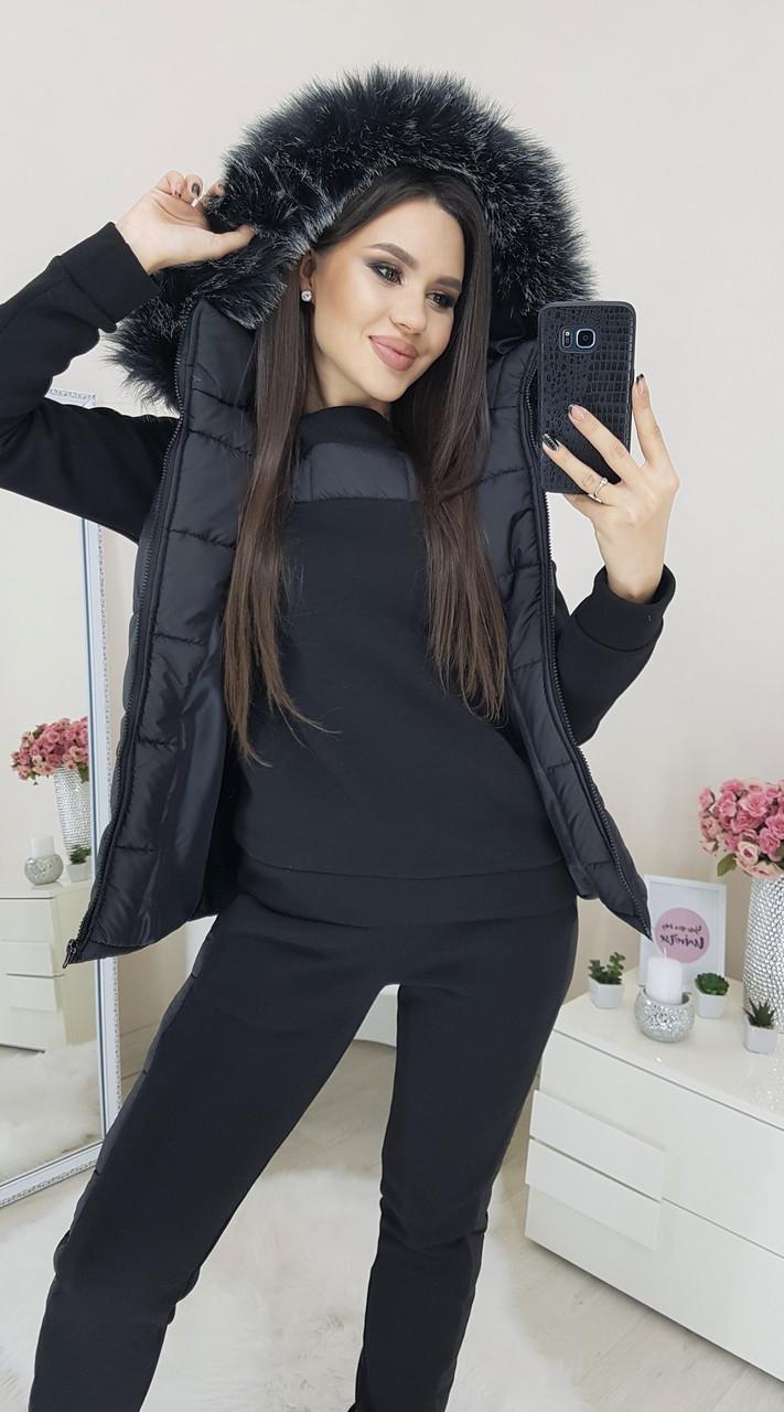 Теплый костюм тройка черный 46-52р