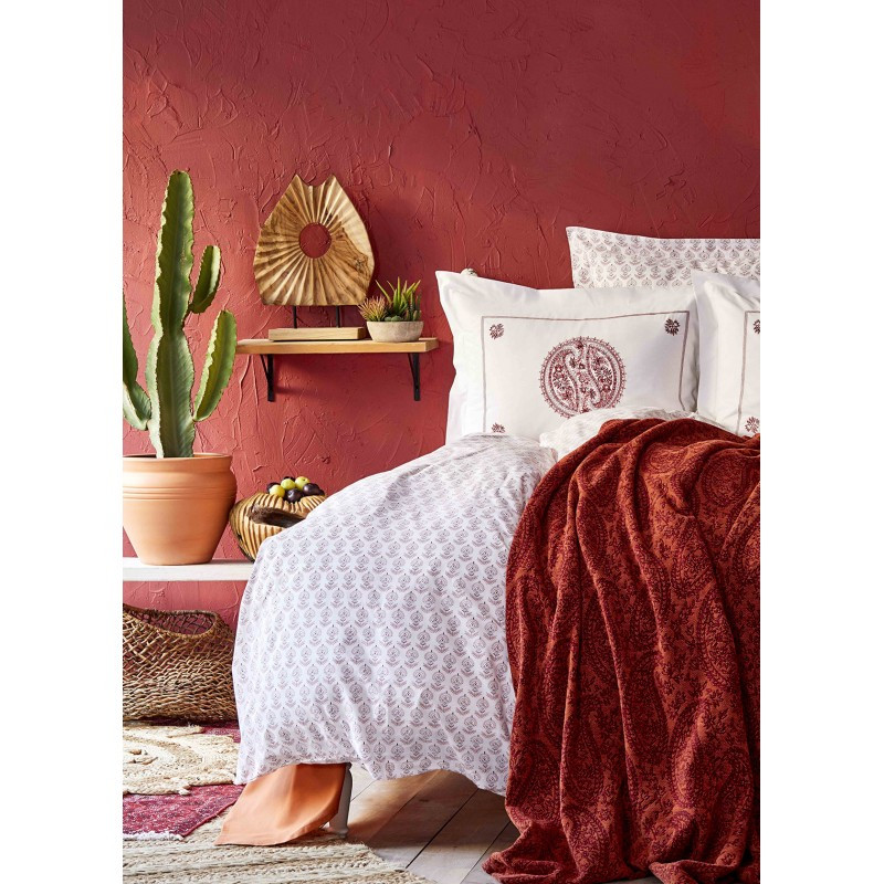 Набор постельное белье с пледом Karaca Home - Alley kiremit 2020-1 кирпичный евро