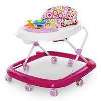 Ходунки ME 1049 HAPPY Pink колеса 8 шт., рожевий, муз., світло, бат., кор., 64-60-54 см., фото 1
