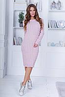 Женское зимнее осеннее вязанное платье шерсть серый черный пудра 42-46, фото 1