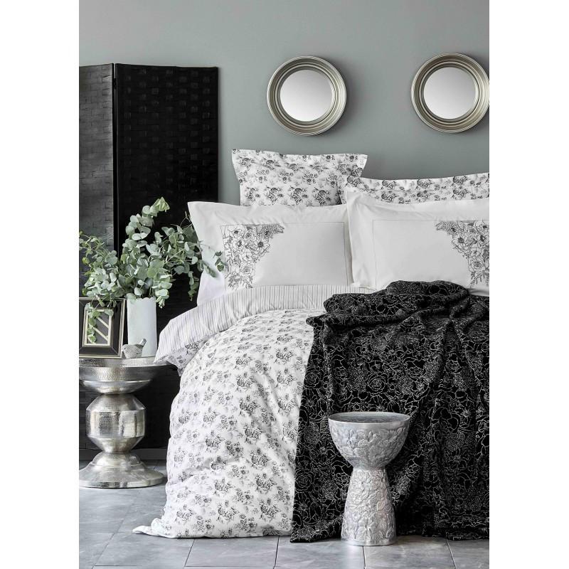 Набор постельное белье с пледом Karaca Home - Brave silver 2020-1 серебро евро