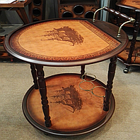 Столик-бар деревянный круглый
