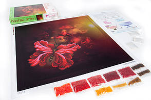 Набор для вышивки бисером. Цветочные Бабочки. Размер: 40x40 см. MINIART CRAFTS 11014