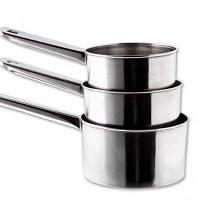 Ковшики нержавеющие круглые с металлической ручкой V 1200/1000/700 мл ( набор 3 шт )