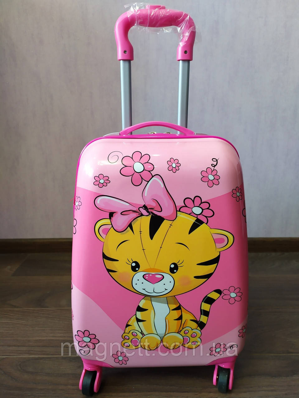 "Детский чемодан на 4 колесах для девочки  ""Тигрёнок"" 45*31*21"