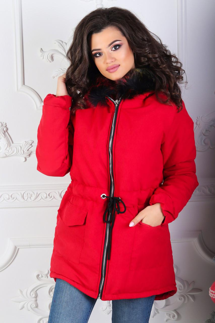 Удобная осенне-зимняя куртка парка женская с шнурком по талии, слегка удлиненная сзади