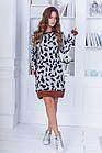 Женское зимнее осенне вязанное платье туника  серое бежевое 42--46, фото 7