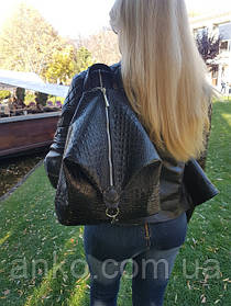 """Рюкзак женский """"Парис"""" натуральная кожа, черная с тиснением под крокодила"""