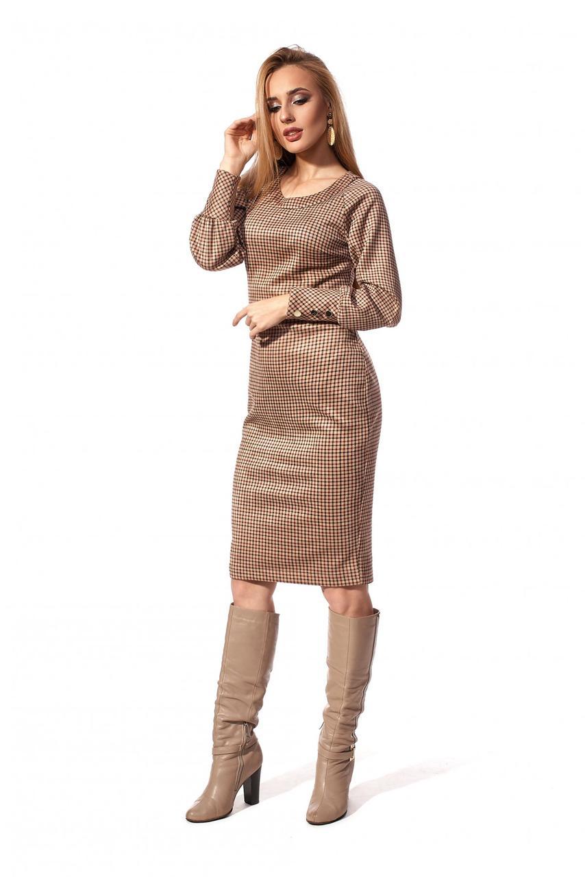 Деловое женское платье коричневого цвета