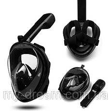 Полнолицевая панорамная маска для плавания Seagard Easybreath (S/M) Черная с креплением для камеры, фото 2