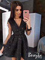 Платье из сетки с голограммой с пышной юбкой и верхом на запах 66PL402Е