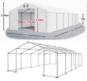 Шатер 6х12 ПВХ с мощным каркасом, торговый павильон палатка, белый без окон, 6 на 12 склад ангар