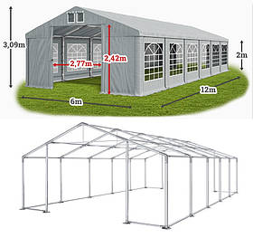 Шатер 6х12 ПВХ с мощным каркасом, палатка тент ангар торговый павильон, 6 на 12, кафе бар кейтеринг