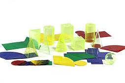 Набір моделей геометричних тіл з розгорткою та кришками 10 шт, 10 см, пластик